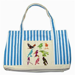 Birds Colorful Floral Funky Striped Blue Tote Bag