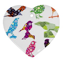Birds Colorful Floral Funky Heart Ornament (two Sides)