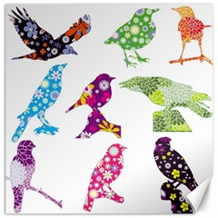 Birds Colorful Floral Funky Canvas 12  X 12