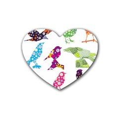 Birds Colorful Floral Funky Heart Coaster (4 Pack)