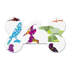 Birds Colorful Floral Funky Dog Tag Bone (one Side)