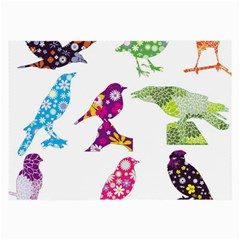 Birds Colorful Floral Funky Large Glasses Cloth (2-Side)