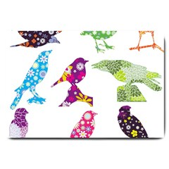 Birds Colorful Floral Funky Large Doormat
