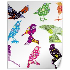 Birds Colorful Floral Funky Canvas 11  x 14