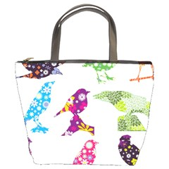 Birds Colorful Floral Funky Bucket Bags