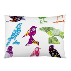 Birds Colorful Floral Funky Pillow Case
