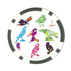 Birds Colorful Floral Funky Poker Chip Card Guard (10 Pack)
