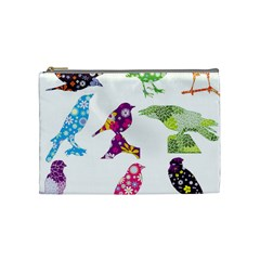 Birds Colorful Floral Funky Cosmetic Bag (medium)