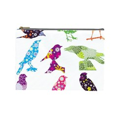 Birds Colorful Floral Funky Cosmetic Bag (large)
