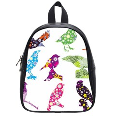 Birds Colorful Floral Funky School Bags (small)