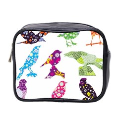 Birds Colorful Floral Funky Mini Toiletries Bag 2 Side