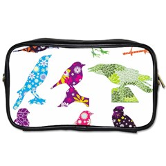 Birds Colorful Floral Funky Toiletries Bags 2 Side