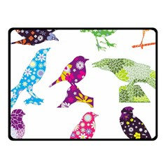 Birds Colorful Floral Funky Fleece Blanket (small)
