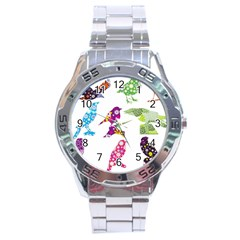 Birds Colorful Floral Funky Stainless Steel Analogue Watch