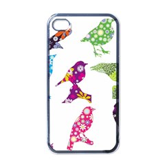 Birds Colorful Floral Funky Apple Iphone 4 Case (black)