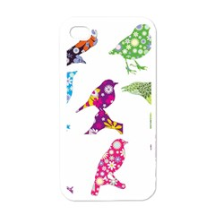 Birds Colorful Floral Funky Apple Iphone 4 Case (white)