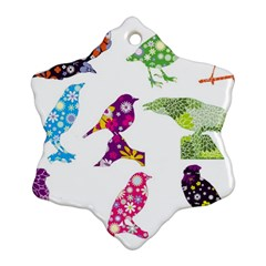 Birds Colorful Floral Funky Ornament (snowflake)