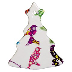 Birds Colorful Floral Funky Christmas Tree Ornament (two Sides)