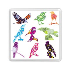 Birds Colorful Floral Funky Memory Card Reader (square)