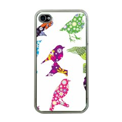 Birds Colorful Floral Funky Apple Iphone 4 Case (clear)