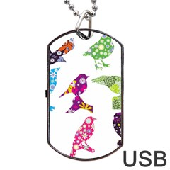 Birds Colorful Floral Funky Dog Tag Usb Flash (one Side)