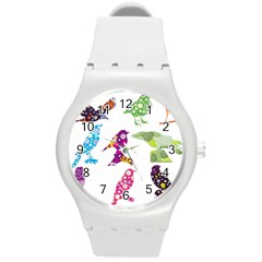 Birds Colorful Floral Funky Round Plastic Sport Watch (m)