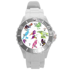 Birds Colorful Floral Funky Round Plastic Sport Watch (l)