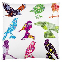 Birds Colorful Floral Funky Large Cushion Case (two Sides)
