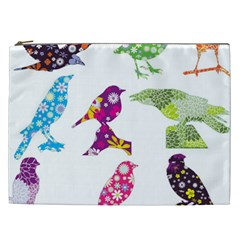 Birds Colorful Floral Funky Cosmetic Bag (xxl)