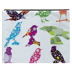 Birds Colorful Floral Funky Cosmetic Bag (xxxl)