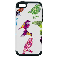 Birds Colorful Floral Funky Apple Iphone 5 Hardshell Case (pc+silicone)