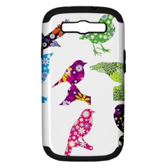 Birds Colorful Floral Funky Samsung Galaxy S Iii Hardshell Case (pc+silicone)