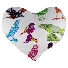 Birds Colorful Floral Funky Large 19  Premium Heart Shape Cushions
