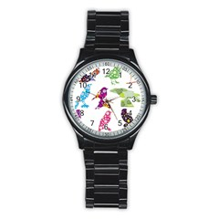 Birds Colorful Floral Funky Stainless Steel Round Watch