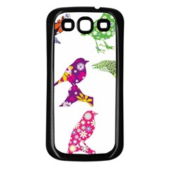 Birds Colorful Floral Funky Samsung Galaxy S3 Back Case (black)
