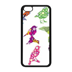 Birds Colorful Floral Funky Apple Iphone 5c Seamless Case (black)