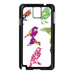 Birds Colorful Floral Funky Samsung Galaxy Note 3 N9005 Case (black)