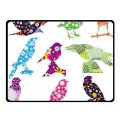 Birds Colorful Floral Funky Double Sided Fleece Blanket (Small)