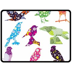 Birds Colorful Floral Funky Double Sided Fleece Blanket (large)