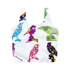Birds Colorful Floral Funky Full Print Recycle Bags (m)