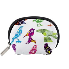 Birds Colorful Floral Funky Accessory Pouches (small)