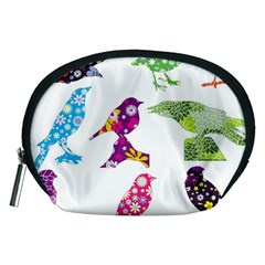 Birds Colorful Floral Funky Accessory Pouches (medium)