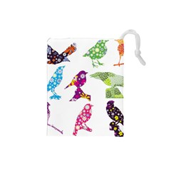 Birds Colorful Floral Funky Drawstring Pouches (Small)