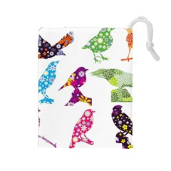 Birds Colorful Floral Funky Drawstring Pouches (large)