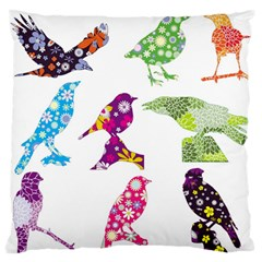 Birds Colorful Floral Funky Large Flano Cushion Case (two Sides)