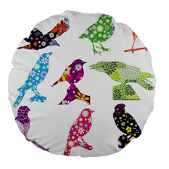 Birds Colorful Floral Funky Large 18  Premium Flano Round Cushions