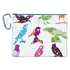 Birds Colorful Floral Funky Canvas Cosmetic Bag (xxl)