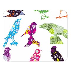 Birds Colorful Floral Funky Double Sided Flano Blanket (large)