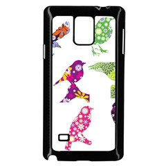 Birds Colorful Floral Funky Samsung Galaxy Note 4 Case (Black)