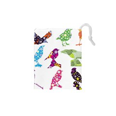 Birds Colorful Floral Funky Drawstring Pouches (xs)